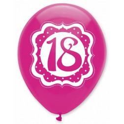 Luftballons 18. Geburtstag Perfectly Pink 6 Stück