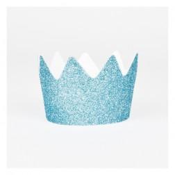 Krone Glitzer Blau 8 Stück