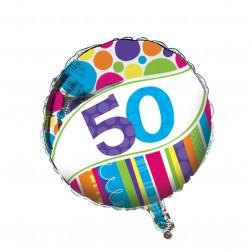 Folienballon Bright & Bold 50. Geburtstag