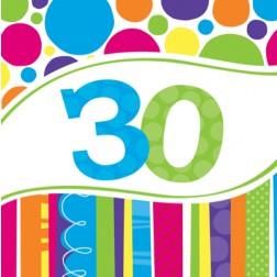 Servietten 30. Geburtstag Bright Bold 18 Stück