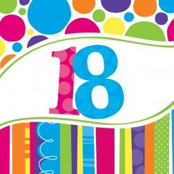 Servietten 18. Geburtstag Bright & Bold 18 Stück