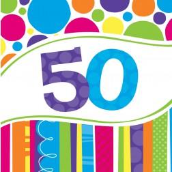 Servietten 50. Geburtstag Bright & Bold 18 Stück