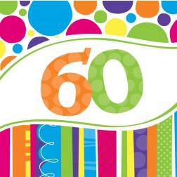 Servietten 60. Geburtstag Bright Bold 18 Stück