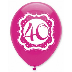 Luftballons  40. Geburtstag Perfectly Pink 6 Stück