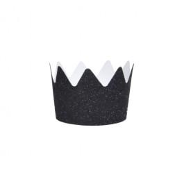 Krone Glitzer Schwarz 8 Stück