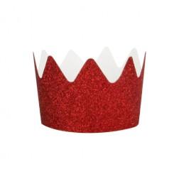 Krone Glitzer in Rot 8 Stück