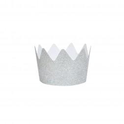 Krone Glitzer Silber 8 Stück