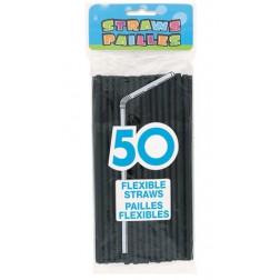Schwarze Strohhalme 50 Stück
