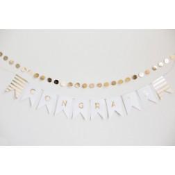 Buchstaben Girlande Gold Weiß