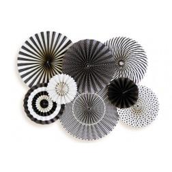 Fächer Black White 8 Stück
