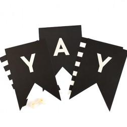 Buchstaben Girlande Black White A bis Z 60 Stück