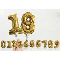 Mini Zahlenballons von 0 bis 9 Gold