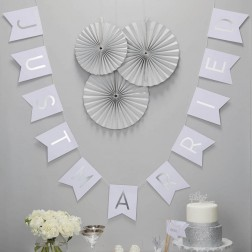 Banner Silber Just Married 2m