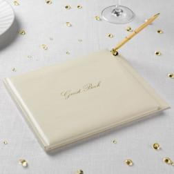 Gästebuch Ivory Gold mit Kugelschreiber 24cm