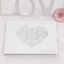 Gästebuch Herz Weiß Silber 22cm