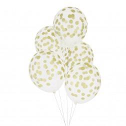 Luftballon durchsichtig mit gold Punkten 5 Stück