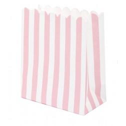 Mini Tüten gestreift rosa 12 Stück