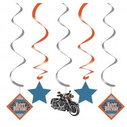 Spiralgirlande Motorrad Party 5er Set