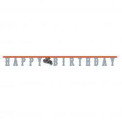Happy Birthday Banner Motorrad 2,2m