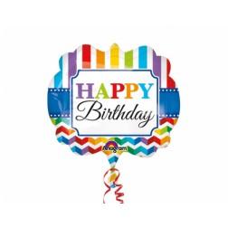 Folienballon Happy Birthday Brights Stripe 63cm