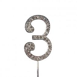 Diamante Zahl Silberstab 3