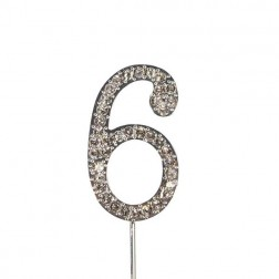 Diamante Zahl Silberstab 6
