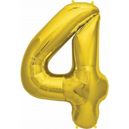 Folienballon Zahl 4 gold 86cm