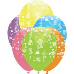 Luftballons Zahl 2 bunt 6 Stück