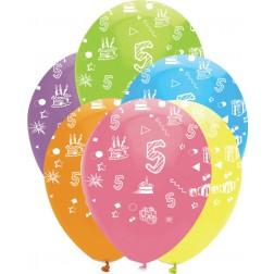 Luftballons Zahl 5 bunt 6 Stück