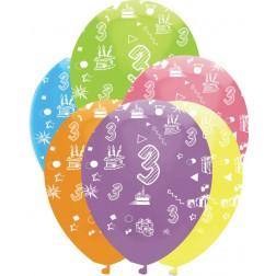 Luftballons Zahl 3 bunt 6 Stück