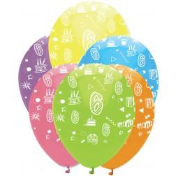 Luftballons Zahl 6 bunt 6 Stück