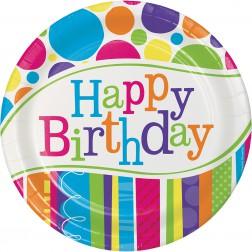 Pappteller Bright Bold Happy Birthday 8Stück