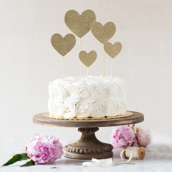 Cake Topper Glitter Herz 5 Stück