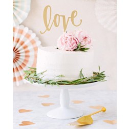 Cake Fancy Topper Love Gold