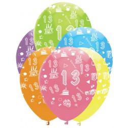Luftballons Zahl 13 bunt 6 Stück