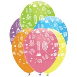 Luftballons Zahl 16 bunt 6 Stück