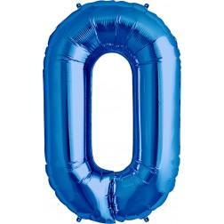 Folienballon Symbol 0 Blau 86cm