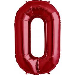Folienballon Symbol 0 rot 86cm