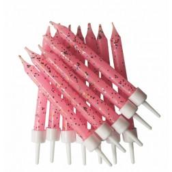 Kerzen rosa glitzer 12 Stück
