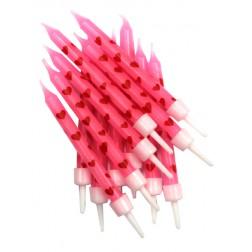 Kerzen Pink Herz 12 Stück