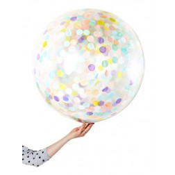 8 Runde Confetti Ballon Pastell Set 45cm