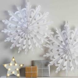 Rosetten Schneeflocken Christmas Metallic weiß 2 Stück 60cm