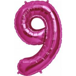 Folienballon Zahl 9 magenta 86cm