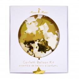 8 Runde Confetti Stern Ballon Set gold 45cm