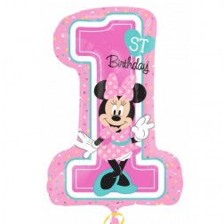 Folienballon Minnie Mouse 1st Birthday rosa 71cm