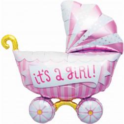Folienballon Kinderwagen rosa 102cm