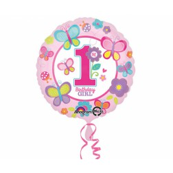Folienballon Schmeterling 1th Birthday girl 43cm