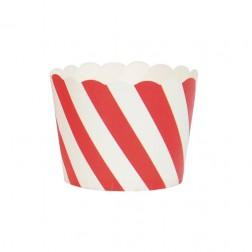 Mini Cupcake Formen rot weiß gestreift 25 Stück