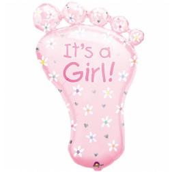 Folienballon Baby Fuß rosa 82cm