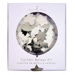 8 Runde Confetti Stern Ballon Set silber 45cm